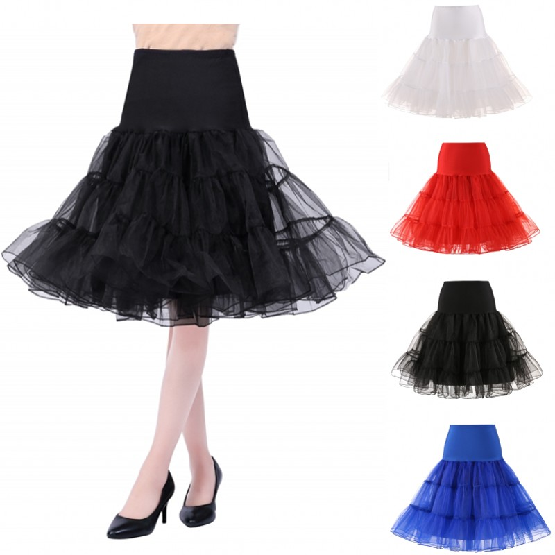 Puffy Short Organza Halloween Women Crinoline Vintage Bridal Petticoat for Wedding Evening Cosplay Underskirt Rockabilly Tutu title=