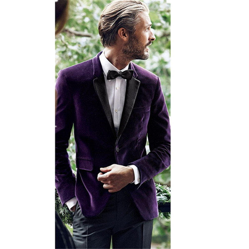 2017 New Purple Velvet men wedding suits kingsman Blazer With Black Pants Mens Tuxedo Party Prom suit smoking terno masculino