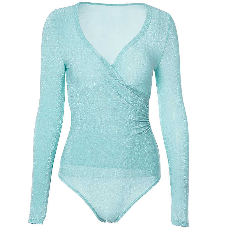 0baf3a07f029f ... InstaHot Mint Green Deep V Neck Bling Bodysuits Women Elastic Sexy  Silver Long Sleeve Tops Fashion ...