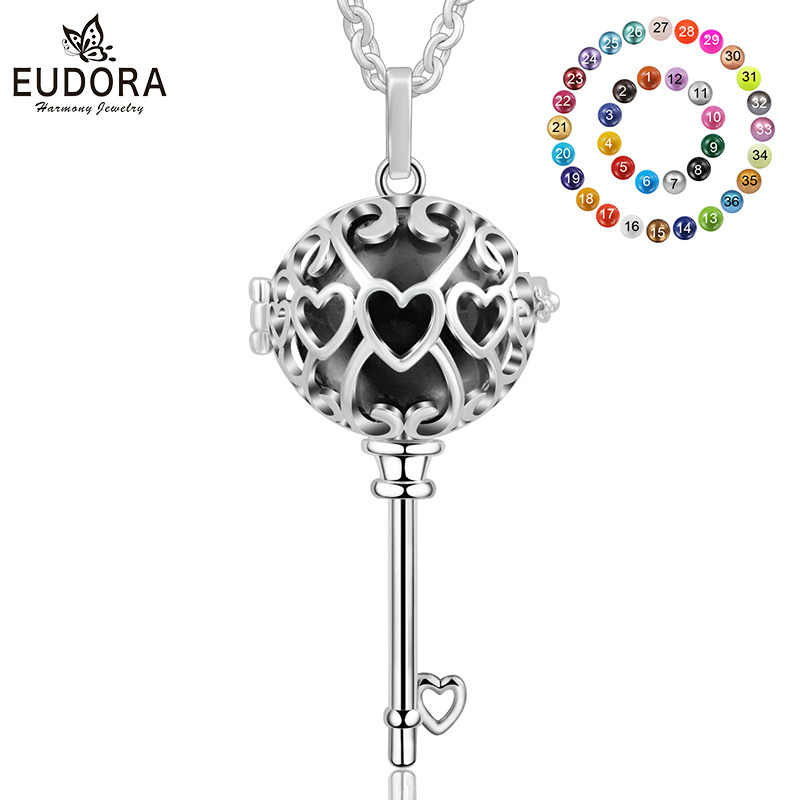 Eudora เงิน 18 มม.เม็กซิกัน Bola สร้อยคอ Bola ดนตรีการตั้งครรภ์กรงจี้ผู้หญิงเครื่องประดับ Fine K234N18