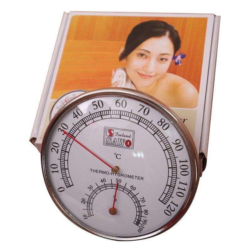 Sauna Thermomètre Boîtier En Acier Inoxydable Vapeur Sauna Thermomètre Hygromètre De Bain Et Sauna Intérieur Extérieur Utilisé