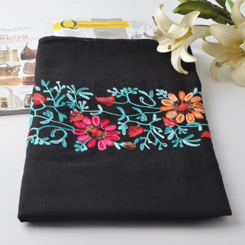 New Plain Embroidered Floral cotton Scarf Shawl From Indian Bandana Print Cotton Scarves and Wraps Foulards