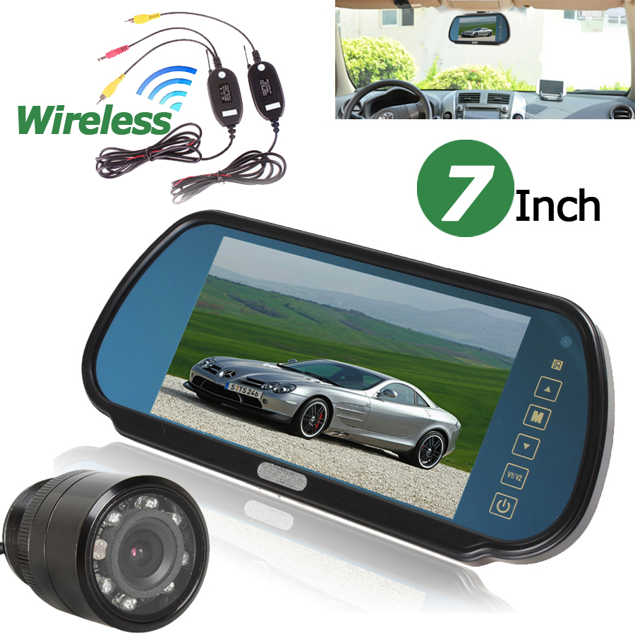7 Inch TFT LCD Color Auto Car Monitor 2 Video input Car Rear View Parking Monitor + Wireless 10 IR Car Rear view Reverse Camera car monitor 2 av input 7 inch hd tft lcd car sunscreen rear view reverse monitor for vehicle reversing camera dc 12v 24v