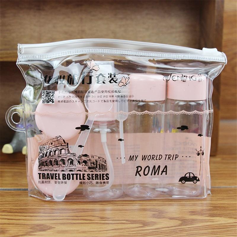 7pc/Set Travel Mini Makeup Cosmetic Face Cream Pot Bottles Plastic Transparent Empty Make Up Container Bottle Travel Accessories