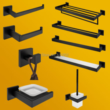 цена High Quality Bathroom Hardware Set Black Matte Bathroom Accessories Paper Holder Towel Rail Rack Robe Hook Toilet Brush Holder онлайн в 2017 году