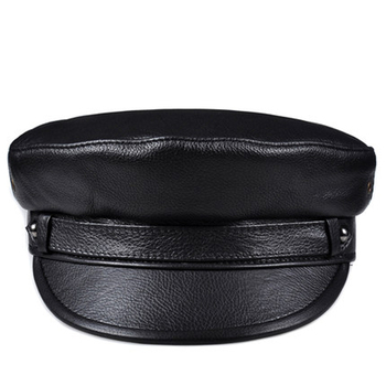 2020 Winter Men/Women Genuine Leather Navy Hats Unisex European/American Streetwear Fitted Black Caps With Belt Outdoor Gorro