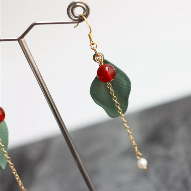 Ruifan Fashion Leaf Red Agate Pearl Ear hook 925 Sterling Silver Women 39 s Long Hanging Earrings Jewelry YEA213 in Earrings from Jewelry amp Accessories