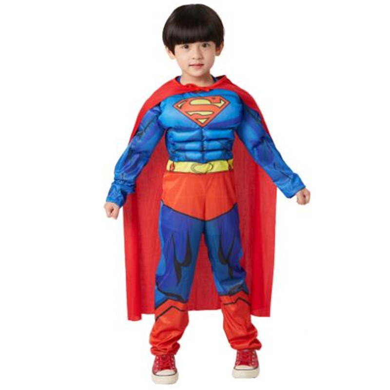 Halloween Christmas Carnival Superman cos Children's clothing boy Cosplay Costumes Superman Anime children's Cloak Jumpsuits set