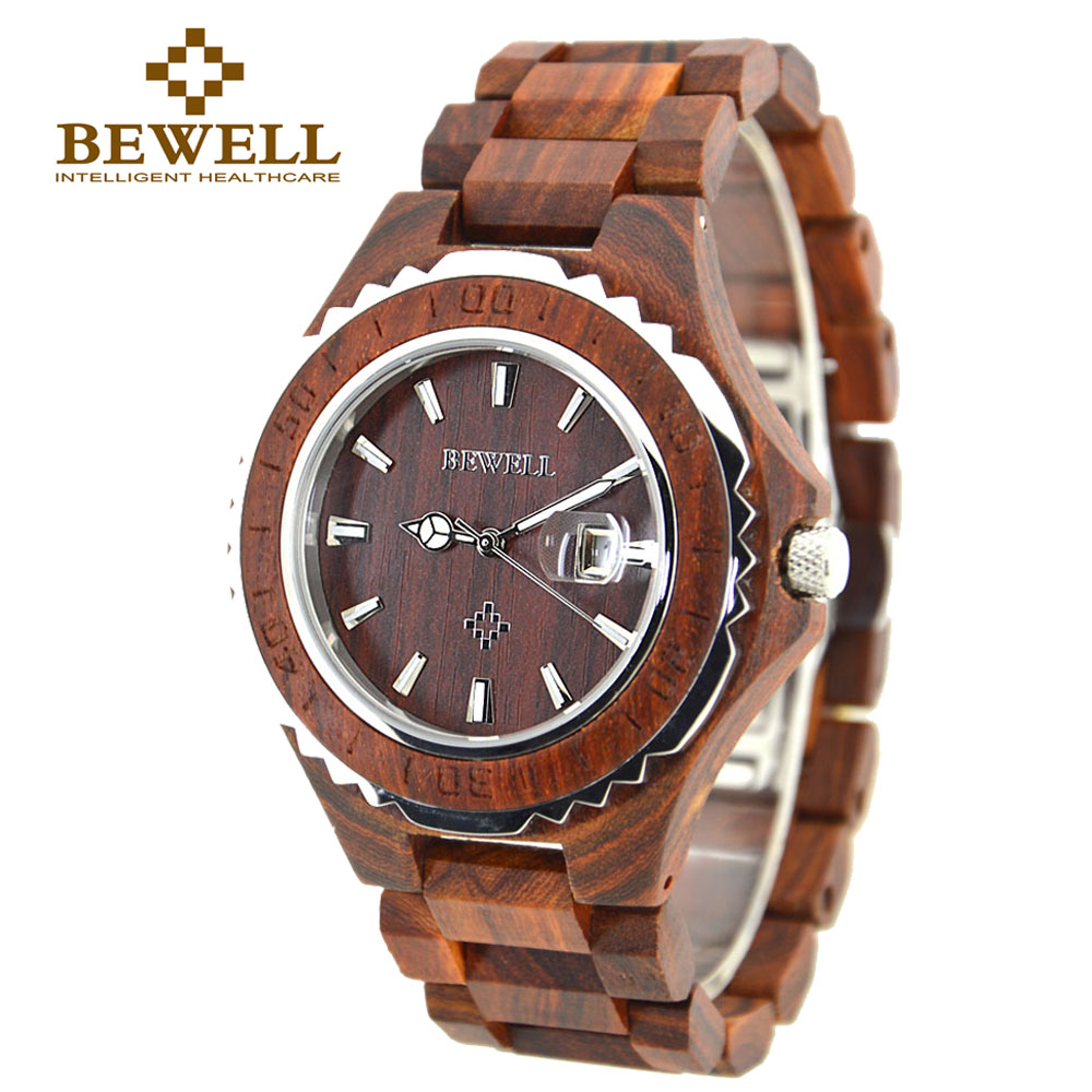 Подробнее о BEWELL Wood Watch Men Analog Display Date Relogio Masculino Quartz  Mens Watches top brand luxury Waterproof Wristwatch 100BG japan style men s watch natural wooden wristwatch wood quartz watch box nice gifts for men relogio masculino 2016 luxury brand