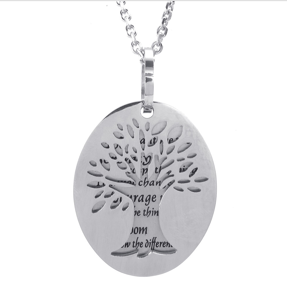 Stainless steel 43x34mm oval shaped pendant 2 layer life tree stainless steel 43x34mm oval shaped pendant 2 layer life tree engraving god grant me serenity courage wisdom gift fp008 in pendants from jewelry aloadofball Choice Image