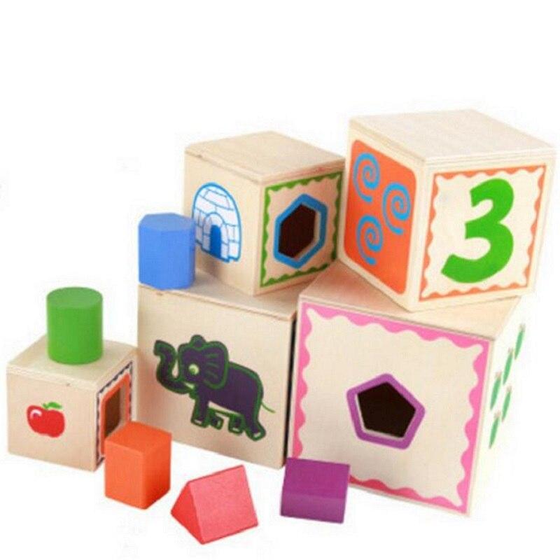 SUKIToy 5 In One Wooden Cube Toy Shape Matching Kidu0027s Soft Montessori Blocks  Set Multifunctional Classic Gallery