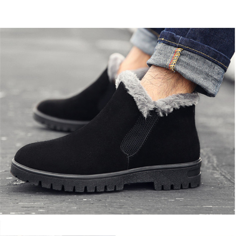 NIS Large Size Fur-lined Ankle Boots Men Shoes Faux Suede Winter Snow Shoes Men Boots Elastic Casual Slip On Motorcycle Booties winter 2016 womens boots big size handmade rhinestone studded flat shoes woman platform faux fur snow boots casual ankle booties
