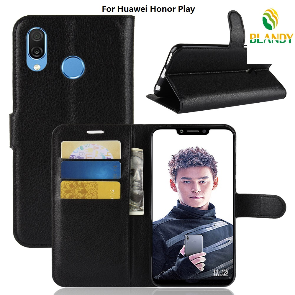 10pcs lot For Huawei Y9 2018 Litchi Lychee Wallet Leather Cover Case For Huawei honor 7A