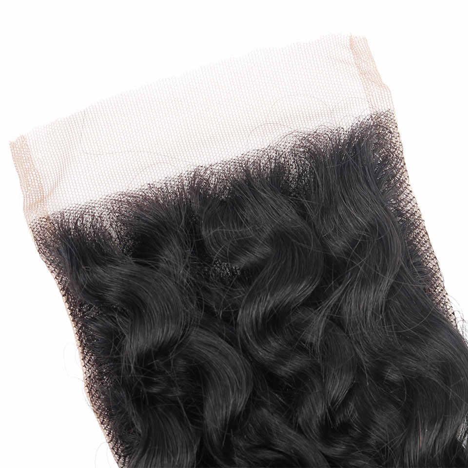 YVONNE глубокие синтетические волосы волнистые бразильские виргинские человеческие волосы закрытие 4x4 бесплатная часть натуральный цвет