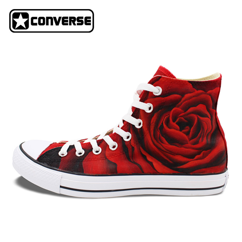 Red Roses Sneakers Women Men Converse All Star Original Design Custom Hand Painted Shoes Woman Man Unique Christmas Gifts sneakers men women converse all star anime fairy tail galaxy design custom hand painted shoes man woman christmas gifts