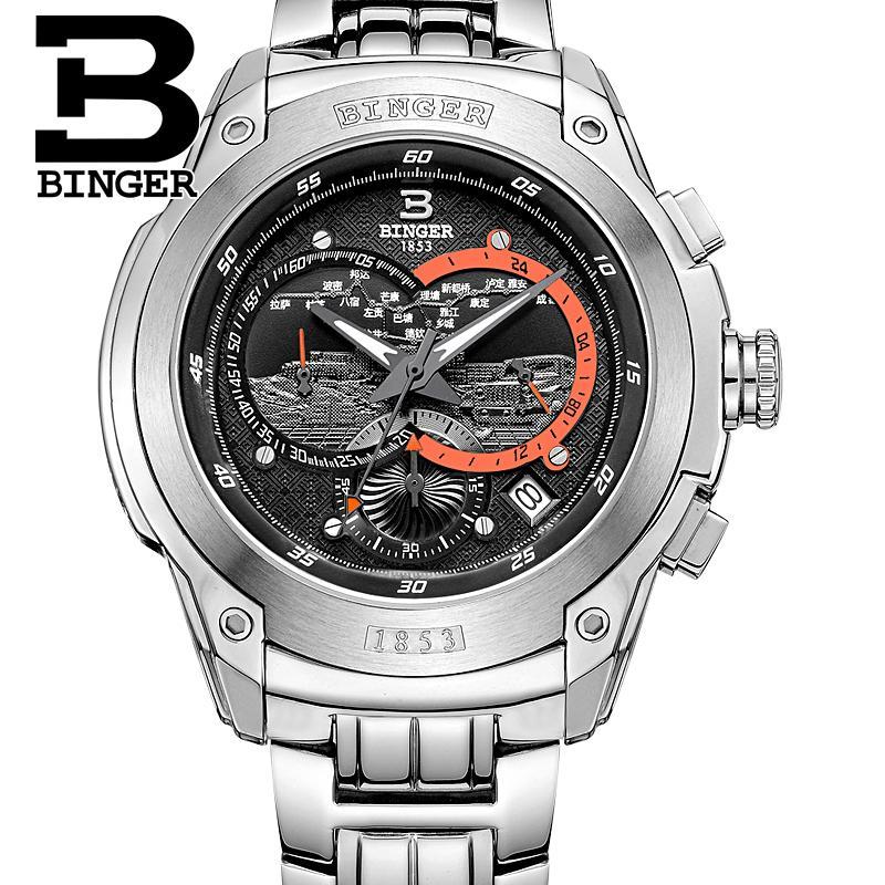 Suisse montre pour hommes de luxe marque horloge BINGER Quartz hommes montres en acier inoxydable chronographe plongeur glowwatch B6013-2