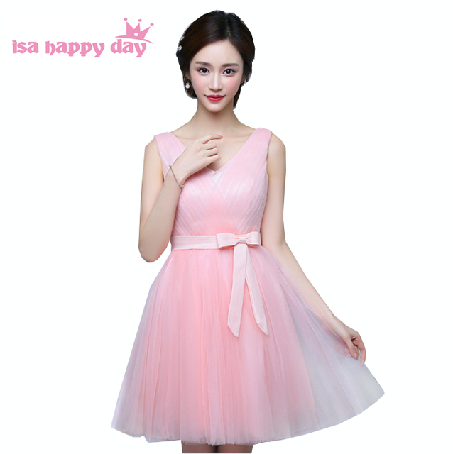 Winter Modest New Short V Neck Girls Tulle Bridesmaid Ball Dress