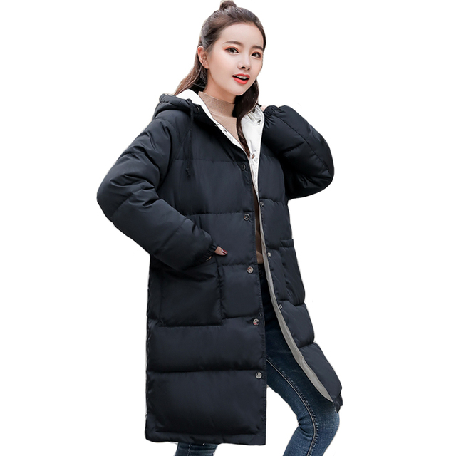 5f3105f0c 2019 Double Two Sides Winter Jacket Women Hooded Breasted Buttons Long  Padded Ladies Coat Outwear Parka