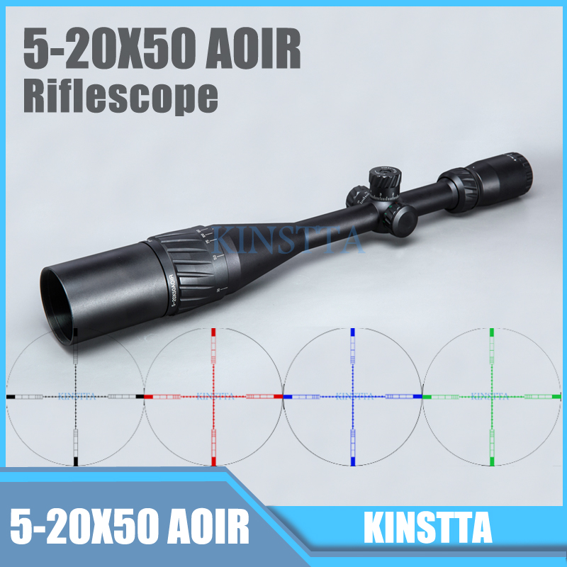 Tactical 5-20X50 AOIR Optics Riflescope Red Green Blue Color Reticle Illumination Rifle Scope For Airsoft Riflescope Hunting red green blue illuminated tactical riflescope 5 20x50 aomc hunting scopes cross reticle sniper rifle scope air rifle optics