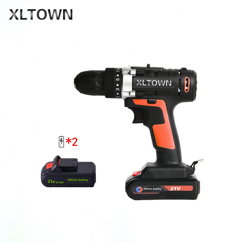 XLTOWN 21v multi function cordless electric screwdriver with 2 battery high power rechargeable lithium battery drill power tools