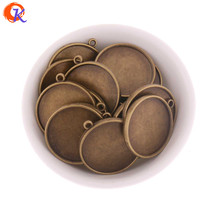 Cordial Design 50Pcs/Lot 25MM Two Sided Sticker Alloy Round Pendant Bronze Plate Key Chain Image Holder Jewelry Findings Tray(China)
