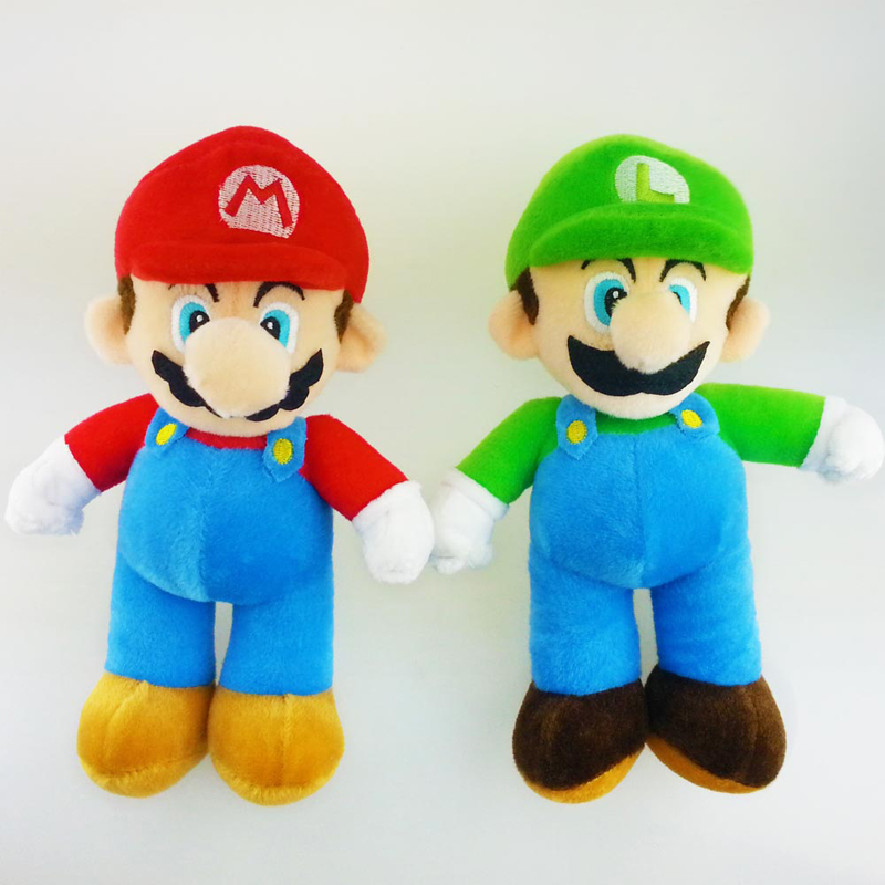 10'' Super Mario Bros Plush Doll Toys Stand Mario & Luigi Soft Plush Stuffed Toy Fashion Mario Pelucia Dolls For Children Gifts