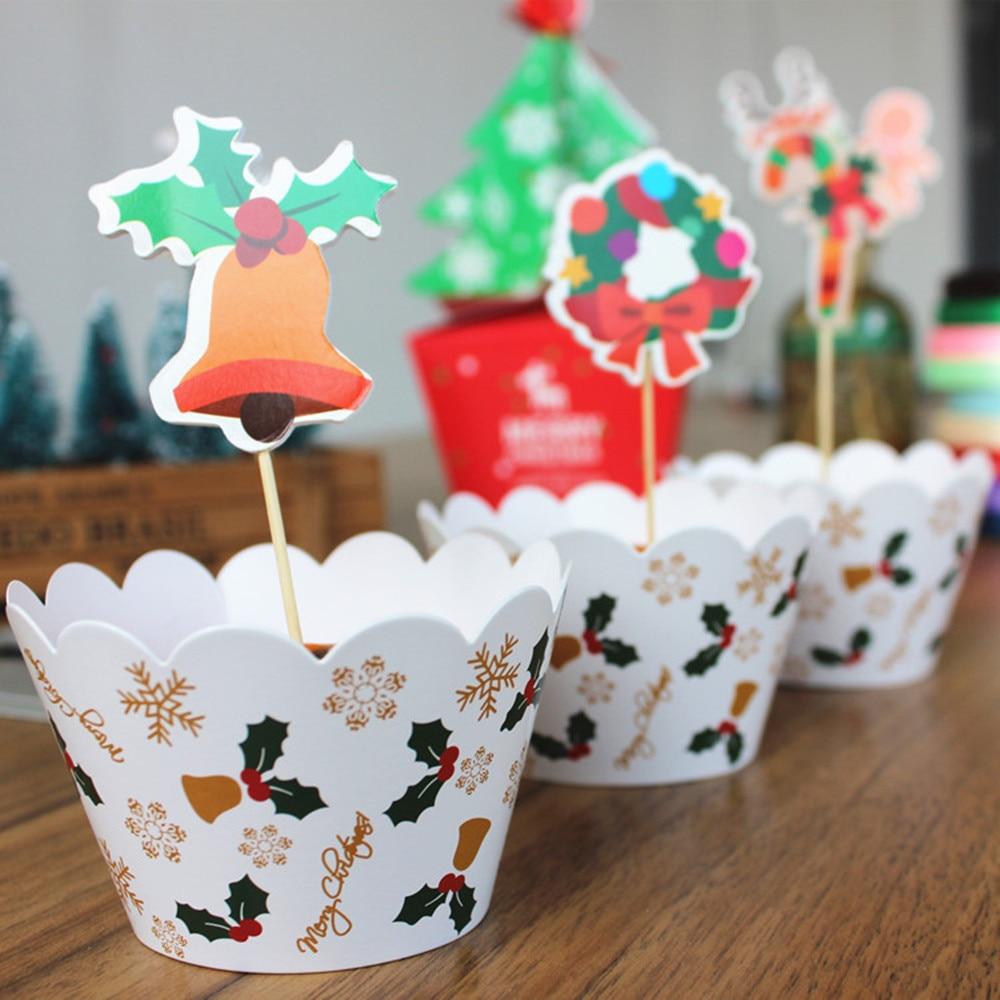 Image 5 - 24 ピースケーキトッパー   カップケーキラッパージンジャーブレッドマンサンタ鐘クリスマス装飾用好意ケーキ装飾    グループ上の ホーム