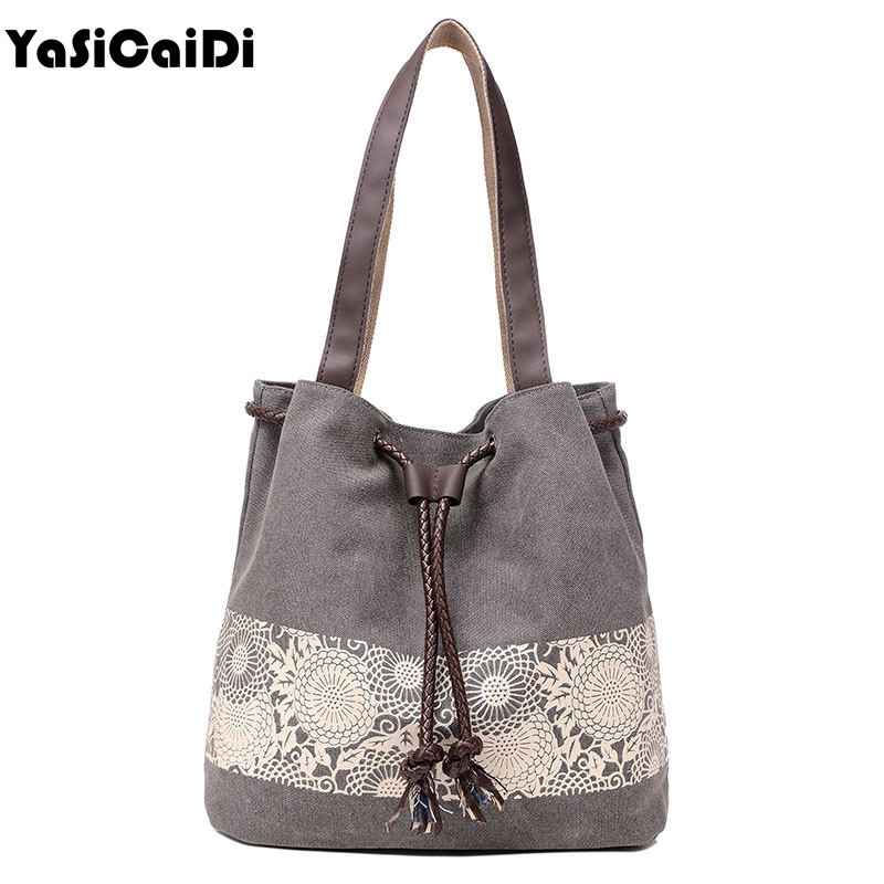 Women Floral Canvas Bucket Casual Shoulder Bag Spanish Beach Bags Women String Shopping Handbags Lace Printing Bag Female Bolso japanese pouch small hand carry green canvas heat preservation lunch box bag for men and women shopping mama bag