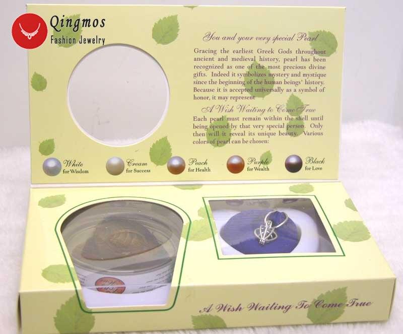 Qingmos 1 cajas deseo perla amor corazón jaula soporte Chokers Collar para mujeres con colgantes collar de perlas Oyster caja de regalo-3621