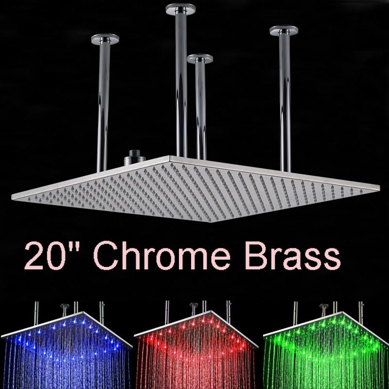 LED Huge 20 Ceiling Mounted Shower Head Square Rainfall Top Shower Chrome Finish Over head Shower Sprayer