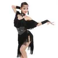 Children Professional Latin Dance Dress For Girls Bright Diamond Frills Fringe Latin Dress Competition Costumes Tango Salsa Wear