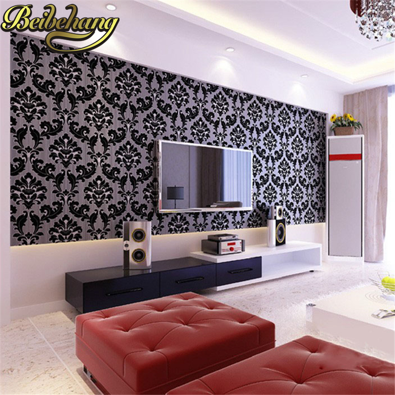 beibehang Embossed deerskin Damascus 3d flooring Wallpaper for Bedroom Living room TV background Home Decoration Wall Paper roll beibehang modern small fresh garden flocking deerskin wallpaper for living room bedroom tv background floral wall paper roll