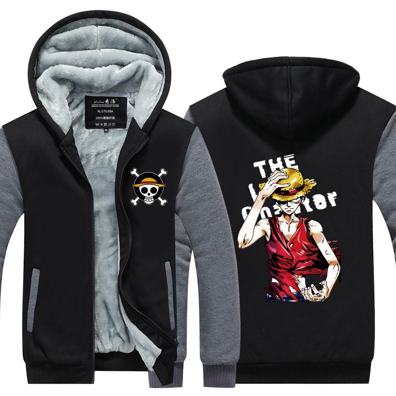 New Winter Jackets And Coats One Piece Hoodie Anime Zoro Luffy Luminous Hooded Thick Zipper Men Law Ace Whitebeard Sweatshirts