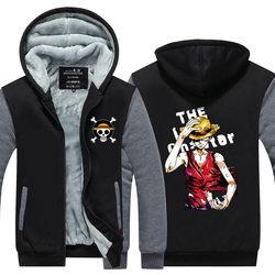 Nieuwe Winter Jassen Een Stuk hoodie Anime Zoro Luffy Lichtgevende Hooded Dikke Rits Mannen Wet Ace Witbaard Sweatshirts