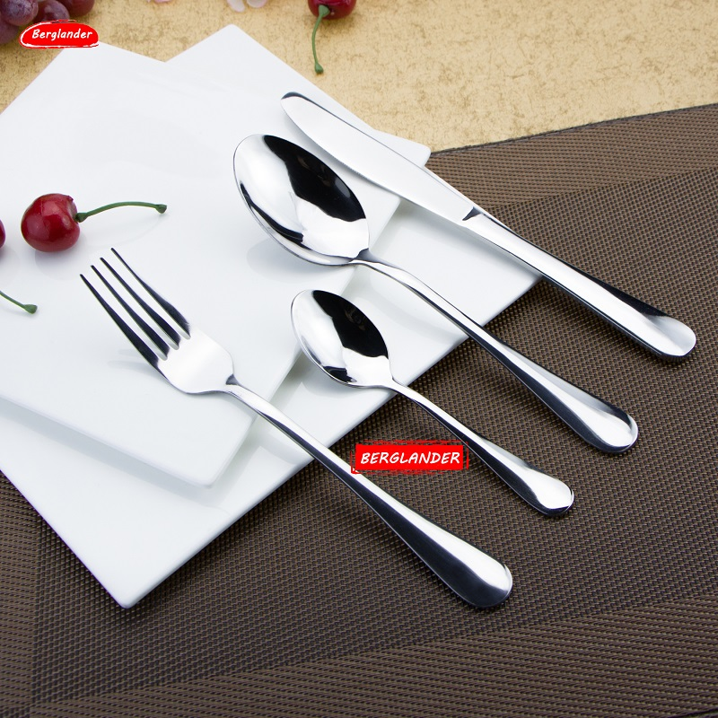 BERGLAND 24pcs 18/0ss High Grade Stainless Steel Tableware Tea Spoon Dinner Knife Fork Flatware Cutlery Kitchen Dining Bar Tools