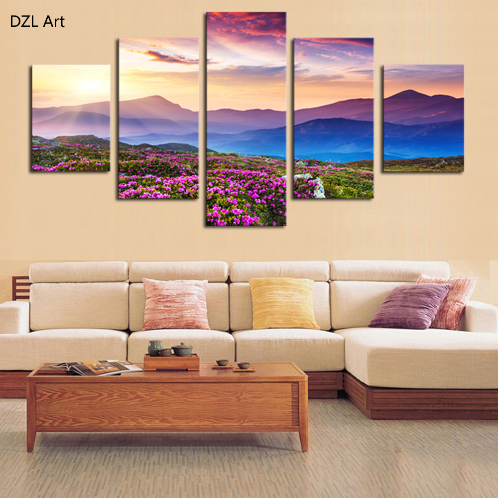 5 piece no frame the sunset and the mountain modern home wall decor canvas picture art hd print Home decor wall art contemporary