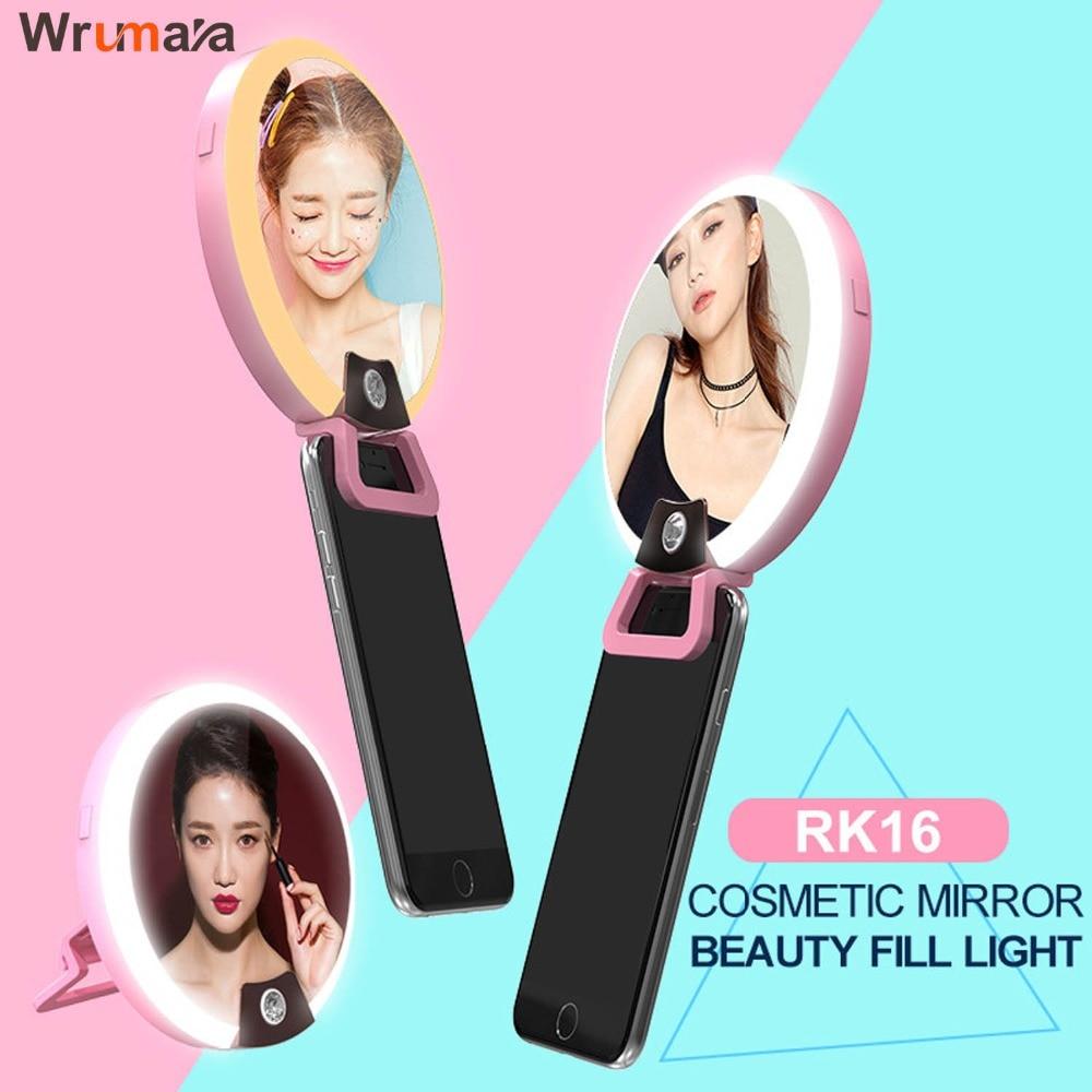 Wrumava Makeup mirror phone <font><b>LED</b></font> <font><b>Selfie</b></font> <font><b>Ring</b></font> light Photography Lamp Flash fill Light Cosmetic for iPhone Samsung ipad PC