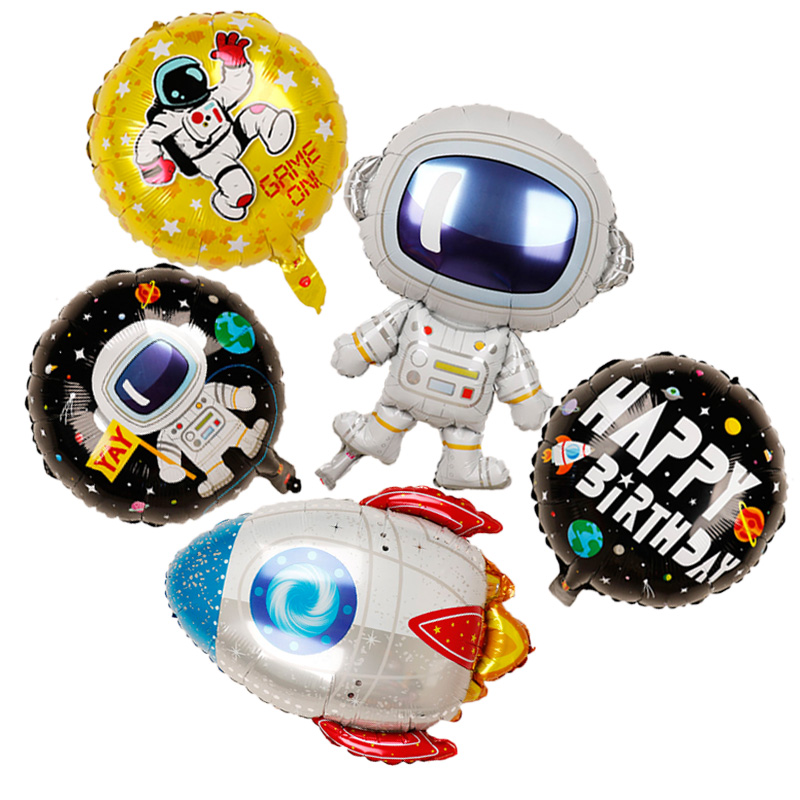 5pcs 18inch Rocket astronaut toys foil balloons Baby Boy balloon heroes HAPPY BIRTHDAY party decorations kids outer space balls