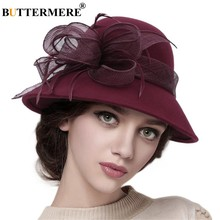 7a52e6fe BUTTERMERE Burgundy Fedora Hat For Women Wool Linen Wedding Hat 2019 Spring  Lady French Vintage Church Female Flower Dome Hat