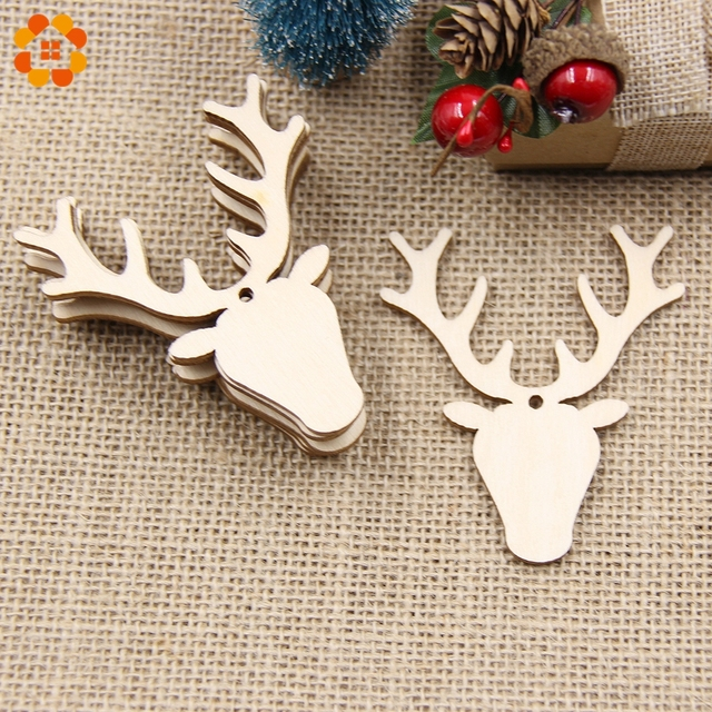 10PCS Christmas Snowflake&Deer Wooden Pendants Ornaments DIY Ornaments  Xmas Tree Ornaments For Christmas Party Decorations Gift