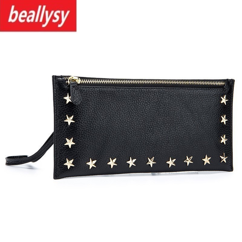 Fashion Ladies Rivet Wallet Female With Genuine Leather Wristlet Card & Id Holders Money Purse For Womens Wallets Coin Purses stock promotion genuine leather wallet female purse long coin purses holder ladies wallet hasp fashion womens wallets and purses
