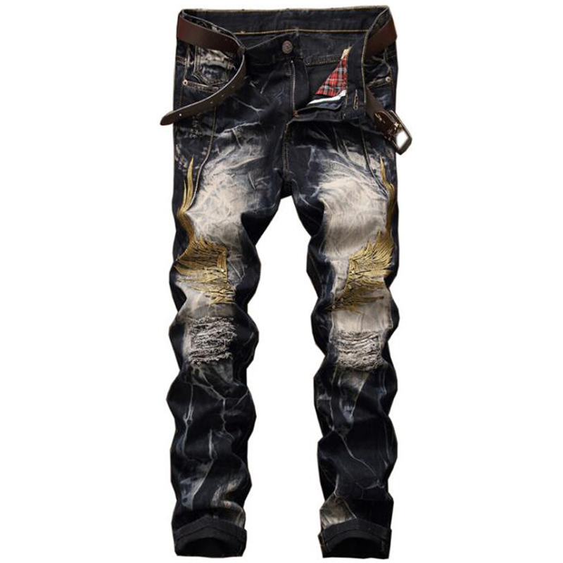 Men jeans 2017 new high quality holes jeans men Casual straight ripped jeans for men embroidery denim trousers  jeans