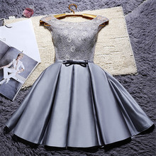Graceful Ladies Short Pleated Satin Prom Dress Customized Sequined A Line Scoop Neck Lace Gowns With Bowknot Gala Jurken