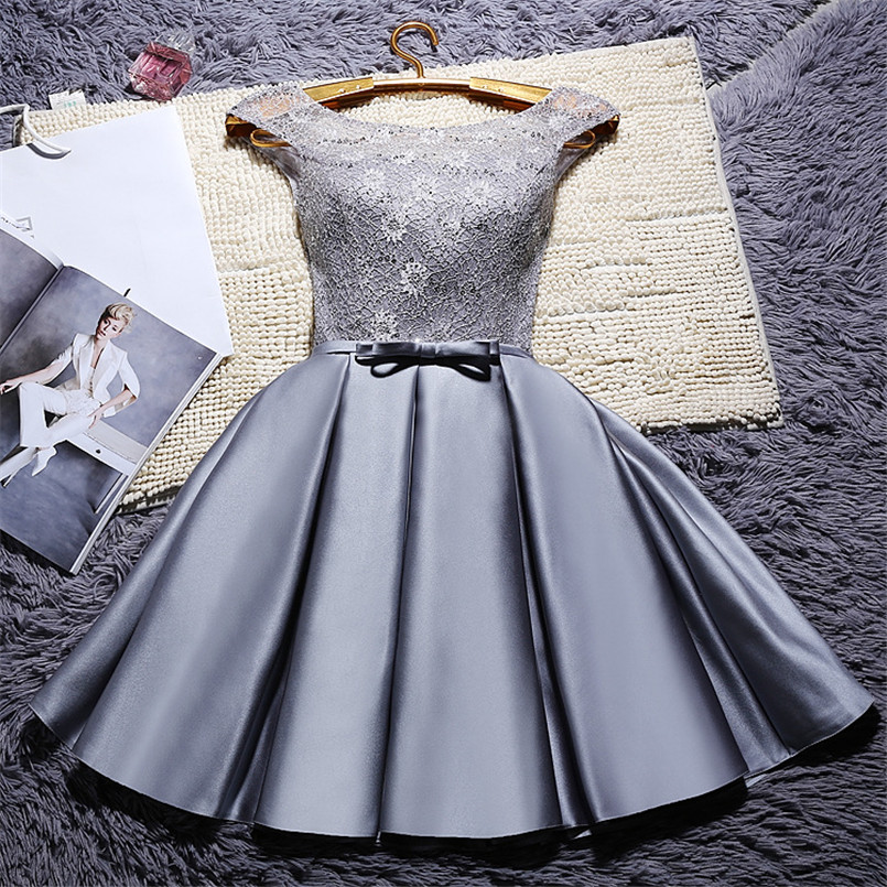 Graceful Ladies Short Pleated Satin   Prom     Dress   Customized Sequined A Line Scoop Neck Lace   Prom   Gowns With Bowknot Gala Jurken