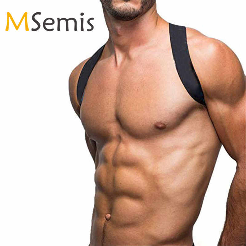 MSemis Men Harness Bondage Nylon X-Shape Back Fetish Gay Bondage Chest Harness  Men Wide