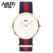 NARY Brand New Fashion Watch Women Elegant Color Nylon Strap Luxury Rose Gold Dial Casual Quartz Wristwatch Ladies Popular Clock