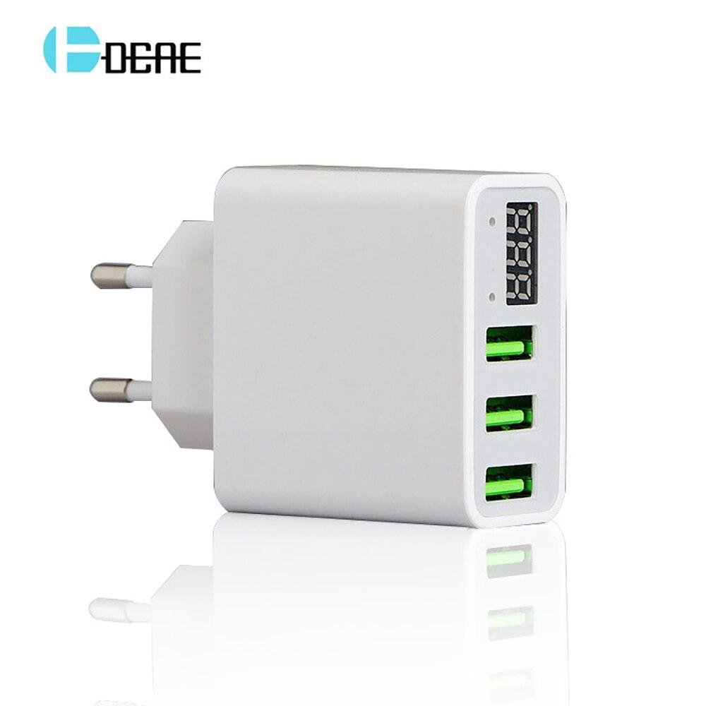 USB Charger LED Universal Untuk 3 Port Cepat 5 V 3A UNI EROPA US Plug - Aksesori dan suku cadang ponsel - Foto 1