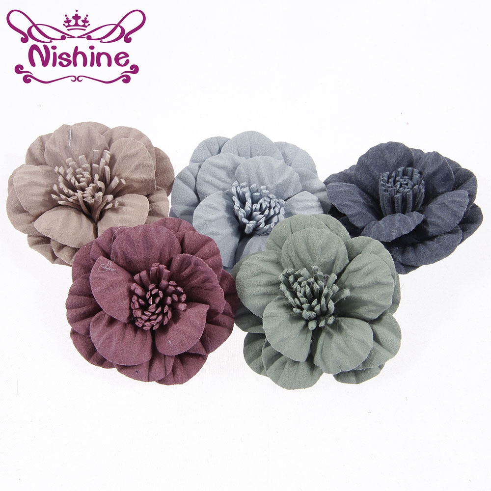 Nishine 30pcs/lot Artificial Fabric Flowers With Stamens For DIY Girls Headwear Hair Accessories Party Hair Flowers