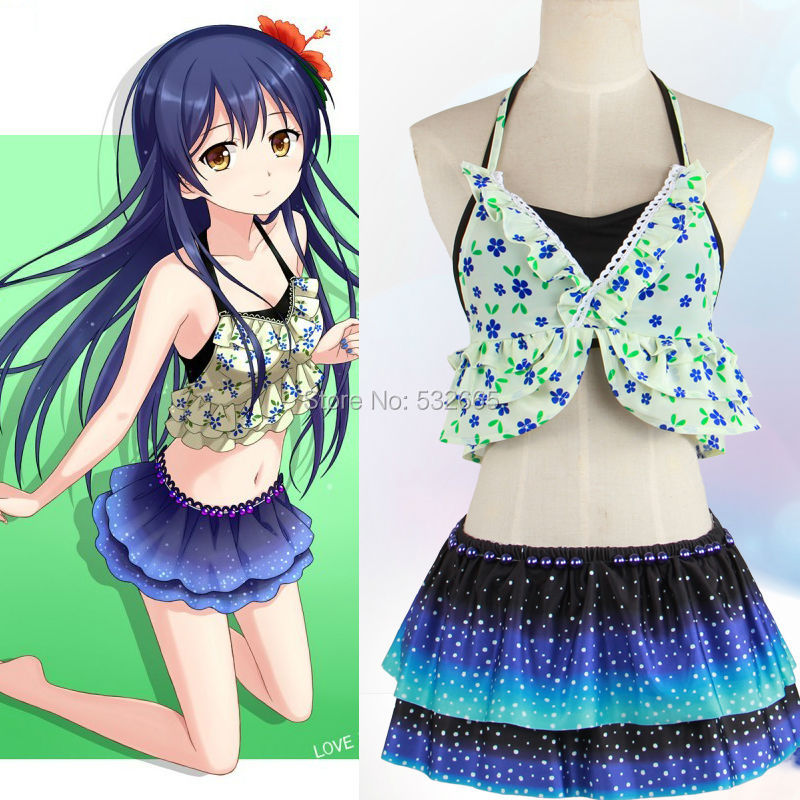Sonoda Umi Cosplay Costume Anime Swimwear Swimsuit Biquini Bikini With Head Accessories In Anime Costumes From Novelty Special Use On Aliexpress Com