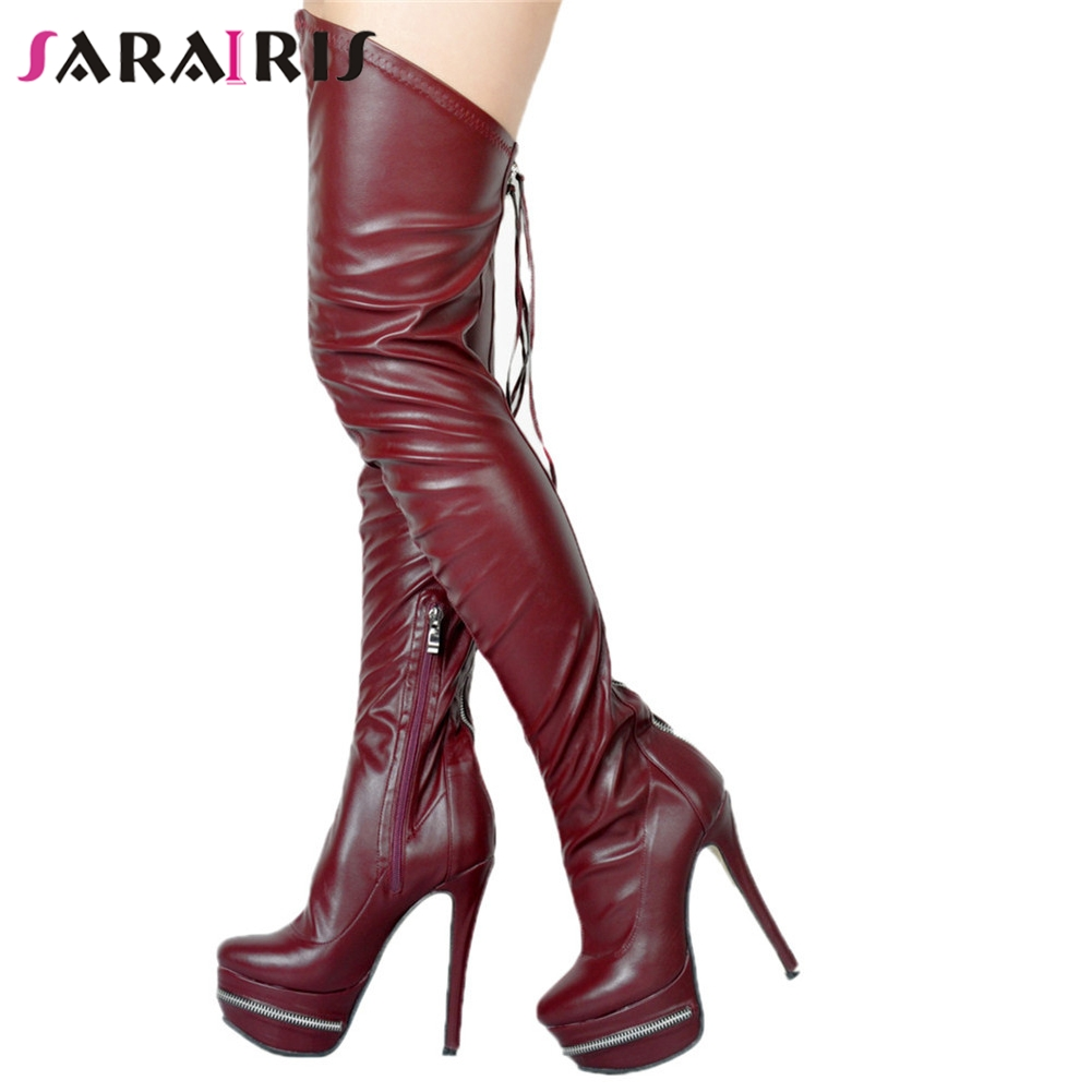 SARAIRIS New Fashion Plus Size 34-47 Thin High Heel Zip Platform Shoes Woman Casual Party Spring Autumn Sexy Over The Knee Boots